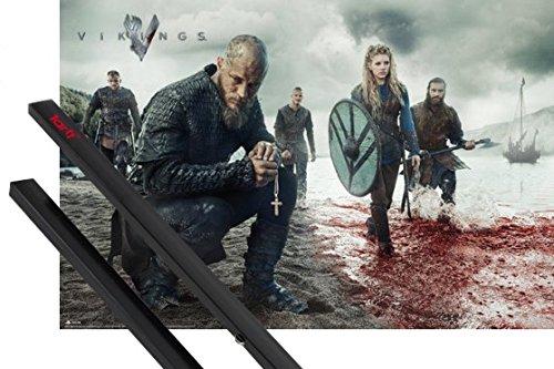 Poster + Sospensione : Vikings Poster Stampa (91x61 cm) Paesaggio Sanguinante e Coppia di barre porta poster nere 1art1®
