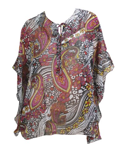 La Leela Dark Color Paisley Printed Short Beach Tunic Cover Up Purple