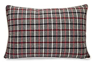 "24"" Black, Red and White Plaid Rectangular Throw Pillow"
