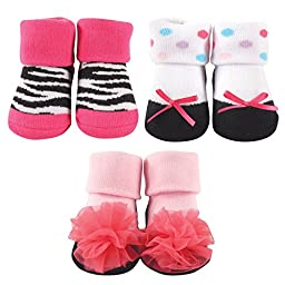 Luvable Friends Decorated Socks Gift Set, Zebra and Flower