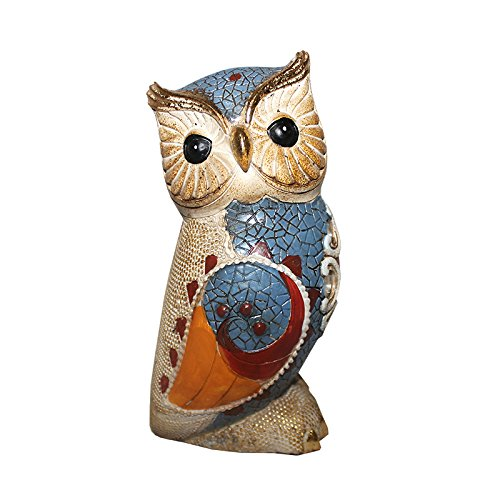 Essential Décor Entrada Collection Polyresin Blue Owl Figurine, 8.5 by 4 by 4