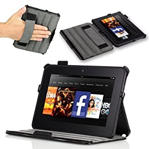 """Poetic HardBack Protective Case for Amazon Kindle Fire HD 7"""" Tablet Black (Automatically Wakes and Puts the Amazon Kindle Fire HD 7"""" Tablet to Sleep)(Intergrated HandStrap)(Has Open Slot for Charger Port)(3 Year Manufacturer Warranty From Poetic)"""