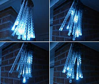 WHITE CONNECTABLE LED METEOR SNOW FALL ICICLE LIGHTS FANTASTIC ITEM FOR