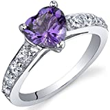 Peora Dazzling Love 1.00 Carats Amethyst Ring in Sterling Silver Rhodium Finish Size J to R