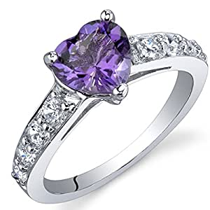 Revoni Dazzling Love 1.00 Carats Amethyst Ring in Sterling Silver Size P,