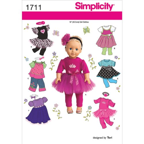 Best Review Of Simplicity 1711 18-Inch Doll Clothes Sewing Pattern, Size OS (One Size)