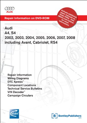 Audi A4, S4 2002, 2003, 2004, 2005, 2006, 2007, 2008 Includes Avant, Cabriolet, RS4 Repair Manual on DVD-ROM (Windows 2000/XP)