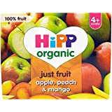 HiPP Organic From 4+ Purely Fruits Apple, Peach and Mango 4 x 100 g (Pack of 6, Total 24 Pots)