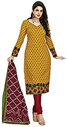 SP Marketplex Women's Cotton Unstitched Dress Materials (Spmsg302, Mustard Yellow And Maroon)