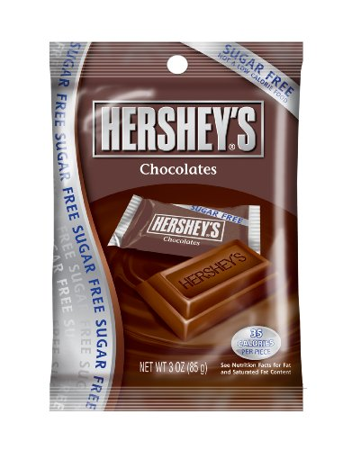 Hershey's Sugar Free Chocolate Candy, 3-Ounce Bags (Pack of 12)