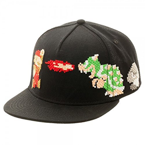 [Nintendo Super Mario and Bowser 8-Bit Pixel Style Snapback Hat] (One Up Mushroom Costume)