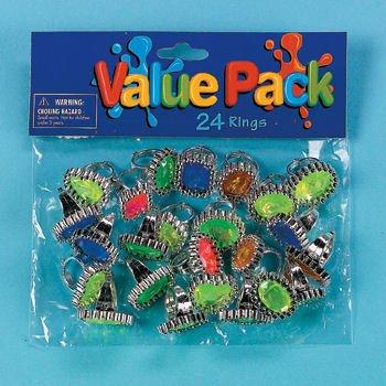 24 Plastic Rhinstone Rings