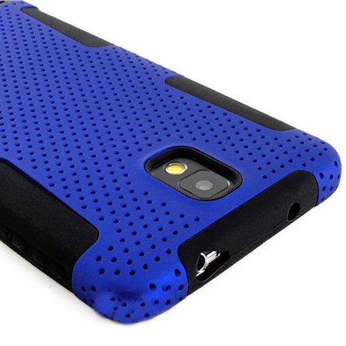myLife (TM) Black + Cobalt Blue Flexi Grip (2 Piece Mesh Armorsuit) Tough Jacket Case for the Samsung Galaxy Note 3 (4G) Smartphone (Fits Models: N9000, N9002 and N9005) (External Mesh Fitted Hardshell Protector + Internal Solft Silicone Flexible Easy Grip Bumper Gel)