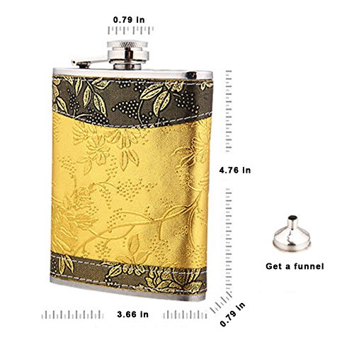 Loghot Portable 8oz Stainless Steel Hip Flask Outdoor Flagon (Tyrant Gold, 3.7x0.8x4.8 inches) (Funnel Wmf compare prices)