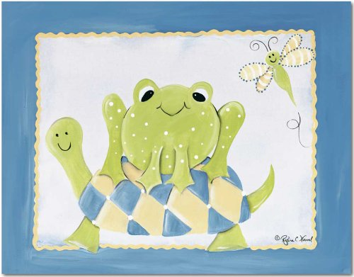 "Doodlefish Gallery-Wrapped 20""x16"" Wall Art, Frog and Turtle"