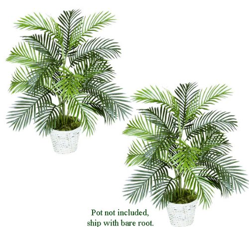 TWO 3′ Artificial Areca Palm Trees