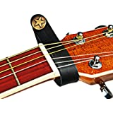 Acoustic Guitar Strap Button Holder; NEW 2 Guitar Picks & Key Chain Pack! Black Leather with Metal Fastener; Replaces String Tie; Fits Above Neck on Headstock; Compatible With Most Models and Straps