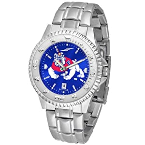 Fresno State Bulldogs NCAA Anochrome Competitor Mens Watch (Steel Band) by SunTime