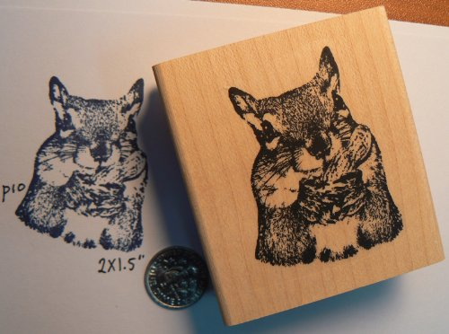 Squirrel eating a peanut rubber stamp WM 2x1.5