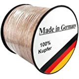 Lautsprecherkabel Transparent - Made in Germany - Echt Kupfer - 2 x 4mm² - 10m Ring