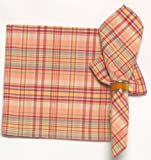 Durable Hand Woven 100% Cotton Pink Plaid Napkins 22x22 Inches Set of 12