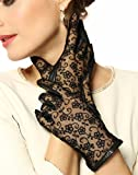 Warmen Women's Medival Lolita Genuine Nappa Leather & lace Unlined Gloves by NYC Leather Factory Outlet
