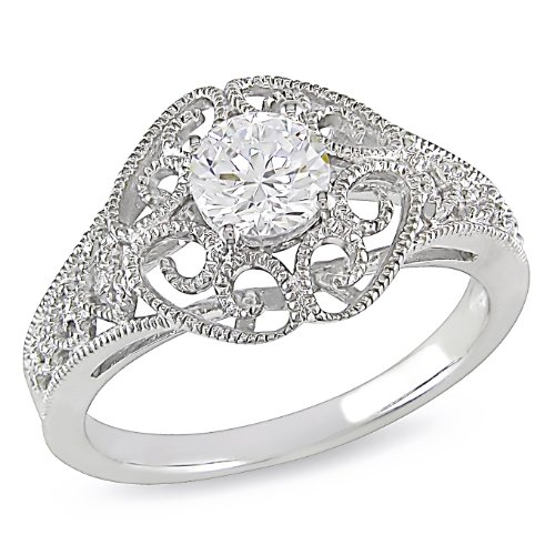 Sterling Silver 1 1/8 CT TGW Round White Cubic Zirconia Fashion Ring