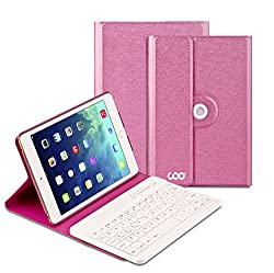 Coo iPad Mini 4 Bluetooth Keyboard Cases with 360 Degree Rotation and Multi-angel Stand(Rose Red)