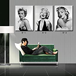High Quality Giclee Prints on Linen Marilyn Monroe Black & White Photos Home Decoration Modern Wall Painting Art set of 3 Each 40*60cm Stretched and Framed, Ready to Hang #OMRW-01 (Advanced framed)