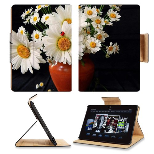 Daisies Flowers Bouquet Vase Ladybug Summer Amazon Kindle Fire Hdx 7 [2013 Version Only] Flip Case Stand Magnetic Cover Open Ports Customized Made To Order Support Ready Premium Deluxe Pu Leather 7 11/16 Inch (195Mm) X 5 11/16 Inch (145Mm) X 11/16 Inch (1 front-952223