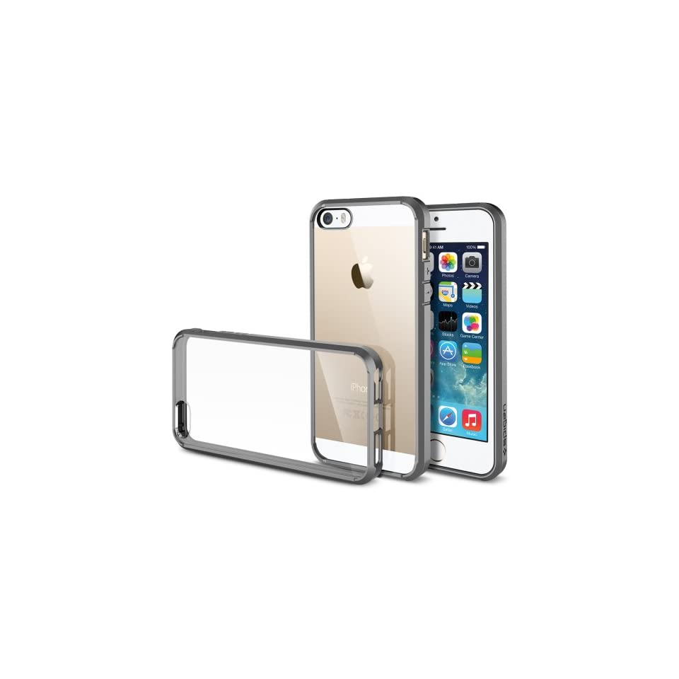 iPhone 5S Case, Spigen® [AIR CUSHION] [+Screen Shield] Apple iPhone 5S Case Bumper ULTRA HYBRID Series [Gray] [1 Premium Japanese Screen Protector + 2 Design Graphics Included] Air Cushioned Bumper Case with Scratch Resistant Clear Back panel ,iphone 5s ca