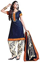 SHREENATHJI ENTERPRISE Women's Cotton Unstitched Dress Material (Blue)