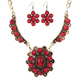 Yazilind Vintage Bronze Alloy Flower Inlay Red Turquoise Bib Statement Necklace Earrings Set Women 23""