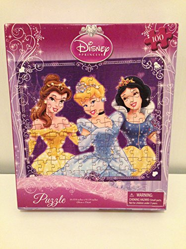 "Disney Princess(3) Puzzle - 100 Pieces - 10"" X 9 "" - Belle, Cinderella, Snow White"