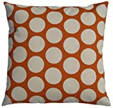 JinStyles Cotton Canvas Polka Dot / Circle Accent Decorative Throw Pillow Cover (Orange & Beige, Square, 1 Cover for 18 x 18 Inserts)