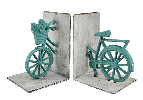 Green and White Cast Iron Vintage Bicycle Bookend Set (Cast Iron Bike compare prices)