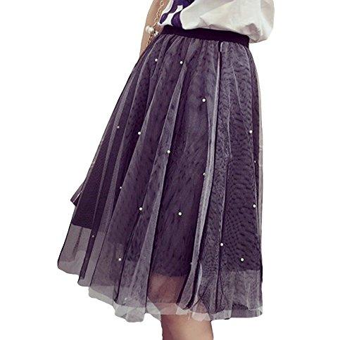 [CASA ROSADA] スカート チュールスカート シフォンスカート ミモレ丈 ドット柄 グレー  オリジナルブレスレットセット