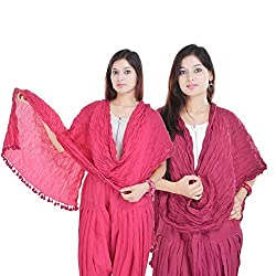 Kalrav Solid Light Pink and Pink Cotton Dupatta Combo