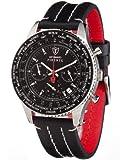Detomaso Firenze Chronograph Men's Quartz Watch with Black Dial Analogue Display and Black Leather Strap SL1624C-BK
