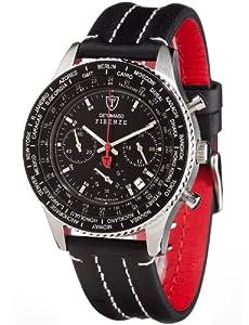 DeTomaso SL1624C-BK - Reloj de caballero de cuarzo, correa de piel color negro (con cronómetro)