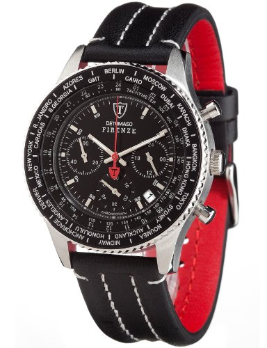 Detomaso Firenze Chronograph Men's Quartz Watch with Black Dial Analogue Display and Black Leather Strap SL1624C-BK