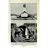 Impresión Antigua de la Población Flotante de China de los Remos del Barquero del Río C1920