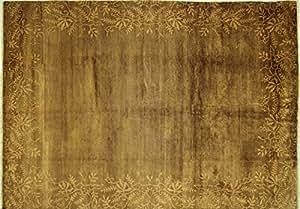 Amazon.com: Floral Border Design 8'x10' Sepia Brown Gabbeh Hand