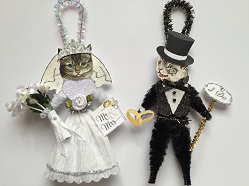 Grey Tabby CAT BRIDE & GROOM WEDDING ORNAMENTS Vintage Style Chenille Ornaments Set of 2