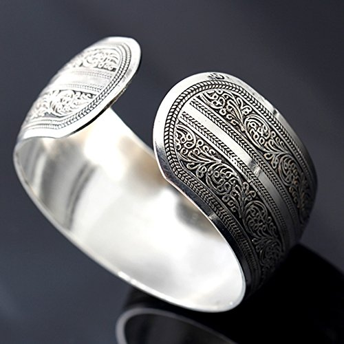 Connecting Branches Carved Tibetan Silver Women