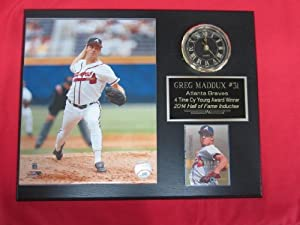 Greg Maddux Atlanta Braves Collectors Clock Plaque w 8x10 Photo and Card by J & C Baseball Clubhouse