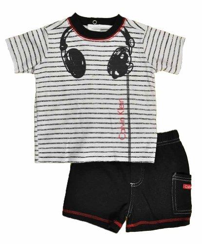 Calvin Klein Baby-Boys Newborn Stripes Tee With Short Headphones, Black, 3-6 Months