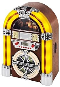 Review and Buying Guide of Cheap iTek Mini Jukebox (2 year Guarantee) Table Top - CD Player - AM & FM Radio - Tube Lights - Mains Electric - Real Wood Veneer - Light Honey Beech Colour