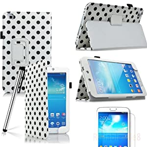 """Eallc Samsung Galaxy Tab 3 8"""" Smart Case Cover with Stand for Samsung Galaxy Tab 3 8.0 T310 T311 T315 Included Screen Protector and Stylus Pen (polka dots white/black)"""