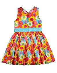 ShopperTree Yellow And Blue Cambric Print Dress(ST-1421_Multi-Coloured_7-8Y)